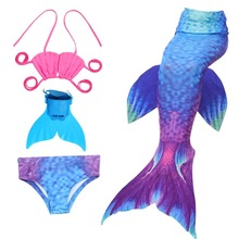 4pcs/16 Colors Children Swimming Mermaid Tails With Monofin Costume Cosplay Princess For Girls Skirts Swimsuit