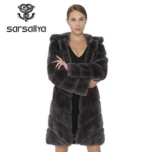 Image 4 - SARSALLYA Rex Rabbit Fur Coat Women Natural Fox Fur With Hooded Jacket Thick Coats Vest Warm Winter Womens Clothing Overcoat