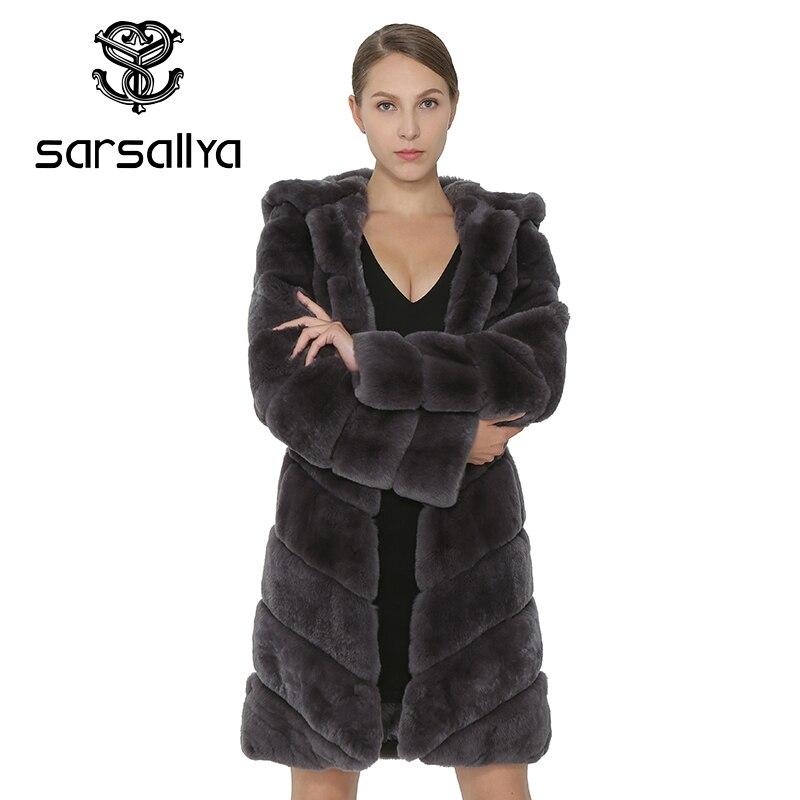 Piel Naturales Sarsallya Mujeres Gruesos Con Abrigo De Las Chaleco Invierno Gray Zorro Cálido Conejo Rex Abrigos Capucha Ropa Mujer Chaqueta qA0EwAr