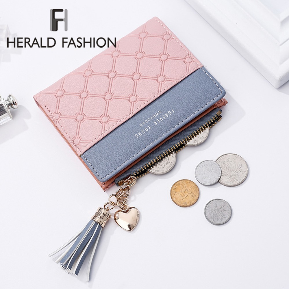 Herald Fashion New Women's Cute Small Purse Leather Long Zip Wallet Coin Card Holder Soft Leather Phone Card Female Clutch