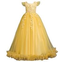 Girls dresses out high waist lace princess dress mesh children wedding flower girl costumes girls christmas dress