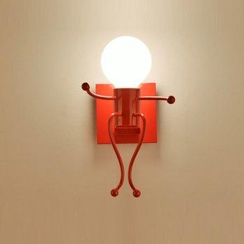 железные детские кроватки   Цоколь E27 Креативный светодиодный настенный светильник маленький железный человек, настенный светильник для детской спальни, коридора, нас...