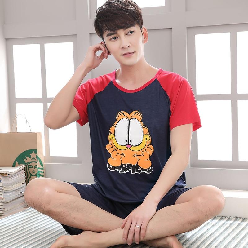JM Junemaist Summer Men Pajama Set Cartoon 100% Cotton Sleep Shirt Shorts Suit Short