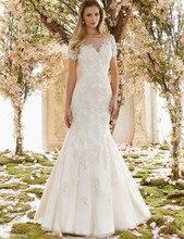 Vivian's Bridal 2018 Fashion Crystal Lace Appliques Mermaid Wedding Dress Short Sleeve Back Illusion Mesh Button Bridal Dress