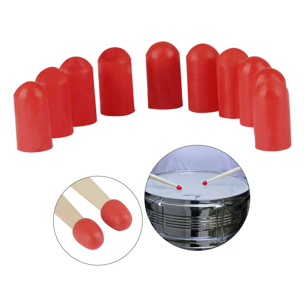10Pcs Drumstick Practice Tips Silicone Drumstick Silent Practice Tips Percussion Accessory