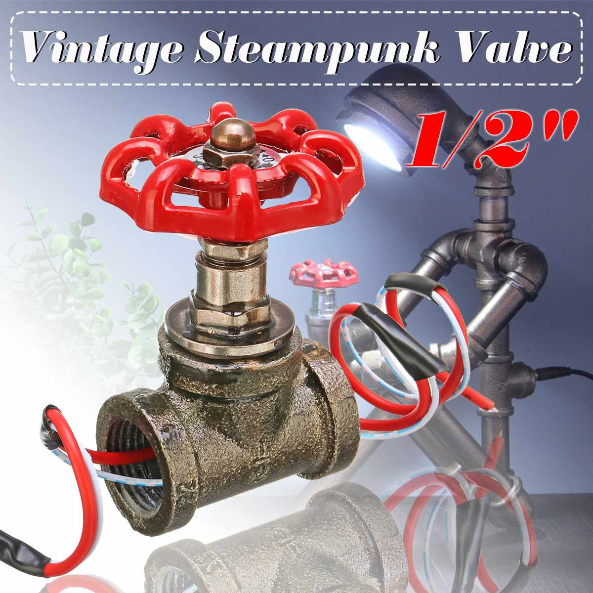 1/2 Inch Stop Valve Light Switch With Wire For Water Pipe Lamps Vintage  Lamp Loft Style Iron Valve Vintage Table Lamp