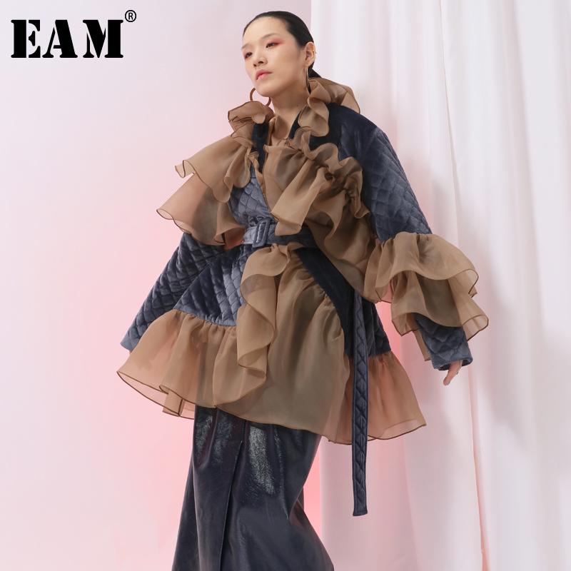 EAM 2019 New Spring Ruffles Mesh Stitch Loose Large Size Velour Cotton padded Coat Women