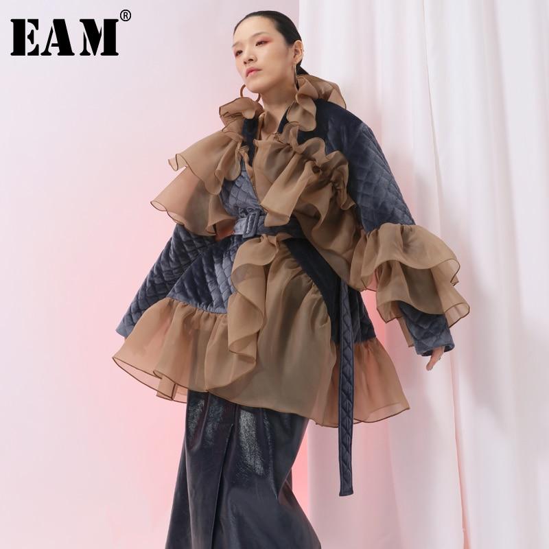 EAM 2019 New Spring Ruffles Mesh Stitch Loose Large Size Velour Cotton padded Coat Women