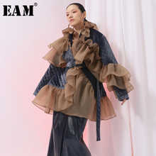 [EAM] 2019 New Spring Ruffles Mesh Stitch Loose Large Size Velour Cotton-padded Coat  Women Jacket  Fashion Tide JI588 - DISCOUNT ITEM  17% OFF All Category