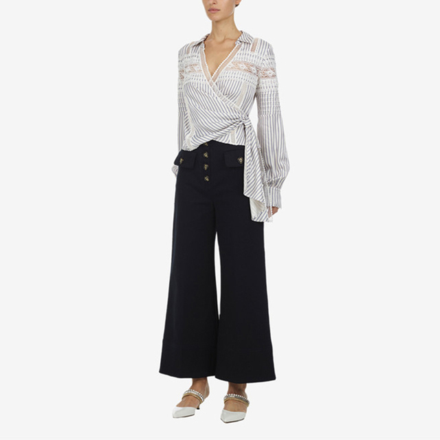 eabdbe5e702a1 Self Portrait Runway Designer Tops Women 2019 V neck Lace Chiffon Patchwork  Long Sleeve Striped Blouses Womens