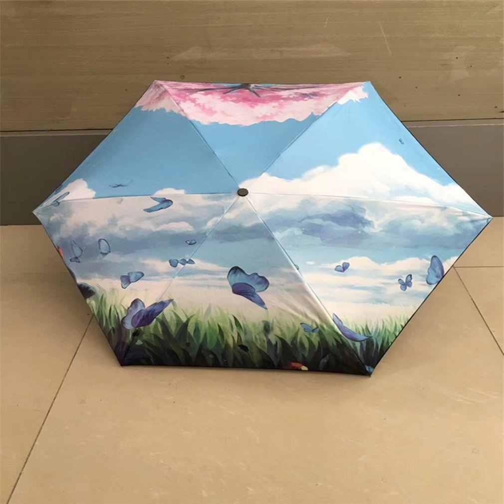 Модная вишня дерево зонтик пять складной Портативный зонтик с УФ-защитой покрытие непромокаемый зонтик