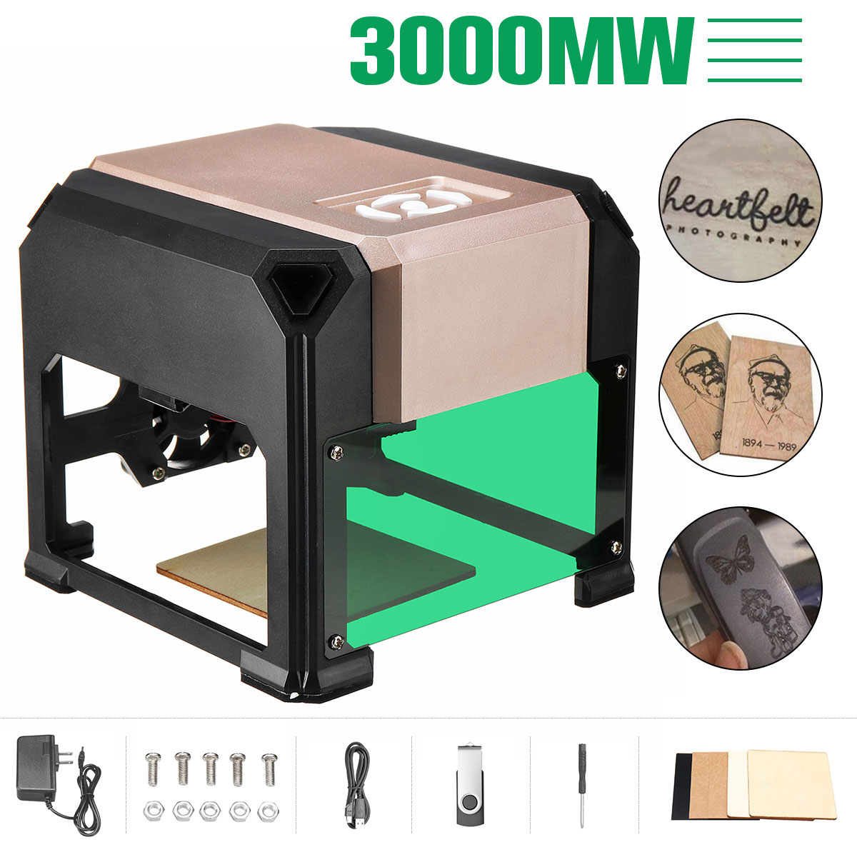 2000/3000mW USB Desktop Laser Engraver Machine DIY Logo Mark Printer Cutter CNC Laser Carving Machine 80x80mm Engraving Range