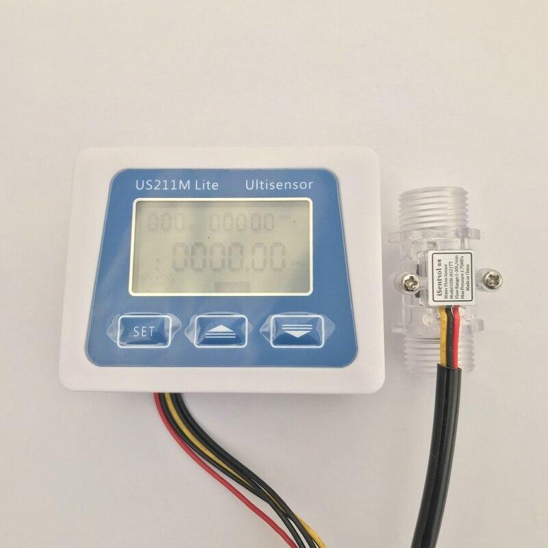 US211M Lite USN-HS21TT 1-30 Digital Flow Meter 5V Flow Reader Compatible With All Our Hall Effect Water Flow Sensor With