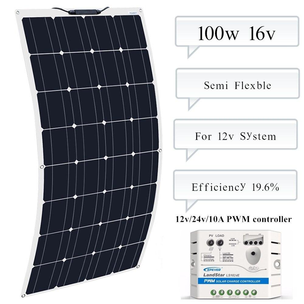 BOGUANG 100w Monocrystalline Silicon Flexible Solar Panel + EP Solar 10A 12V/24V Controller Regulator For 12v Battery Charger
