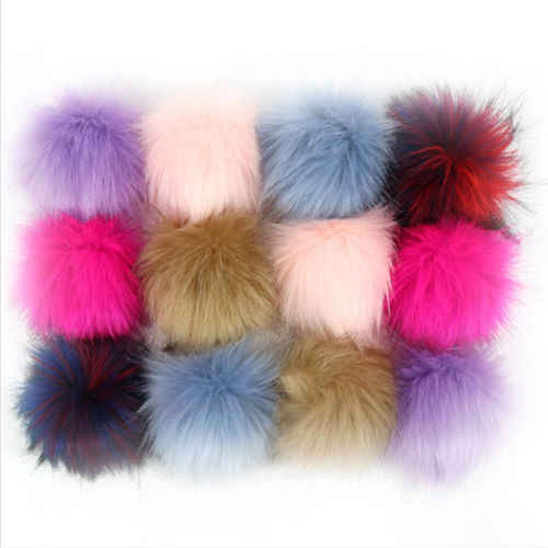DIY 12x Mix Colors Faux Fox Fur Fluffy Pompom Ball Hat Bags Keychain Accessories