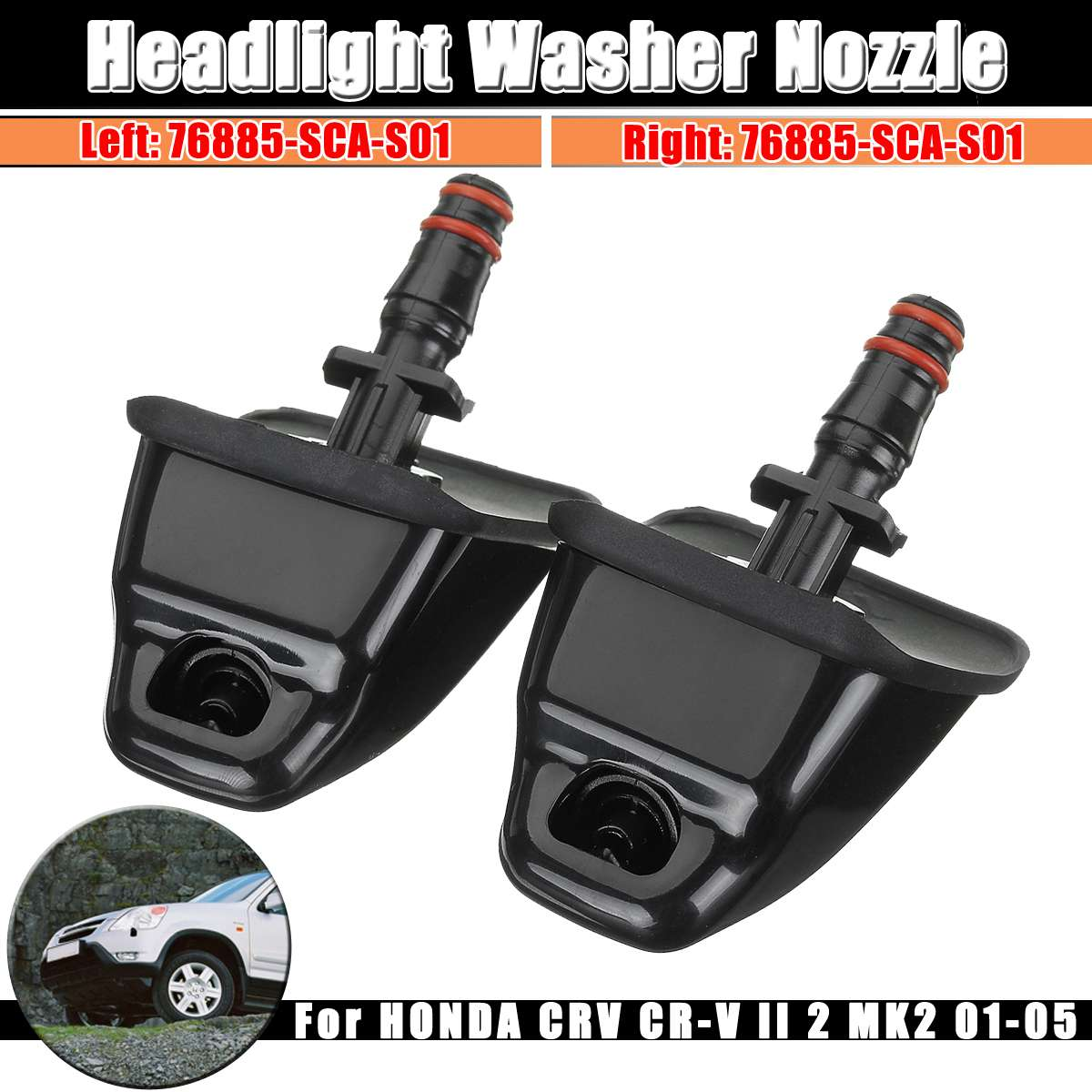 1pcs Left / Right Headlight Washer Nozzle Headlamp Sprayer For HONDA For CRV For CR-V II 2 MK2 2001 2002 2003 2004 2005