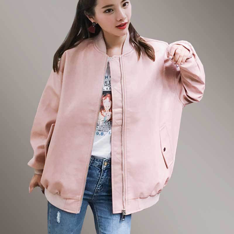 Best Faux   Leather   Female Coat Pink PU Bomber Jacket Women Spring Plus Szie Basic Jacket 2019 Autumn Fashion Soft Outerwear PJ327