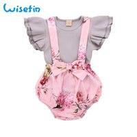 Милый комплект с оборками и рукавами для маленьких девочек; летняя одежда; одежда для маленьких девочек; комплект одежды с цветочным принто...