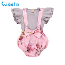 Ruffle Sleeves Cute Girls Baby Set Summer Clothes Girl Outfits Flower Toddler Clothing 2Pcs Tops+Jumpsuits D30