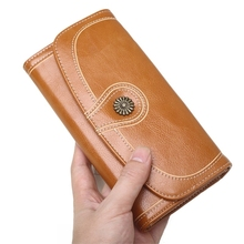 Wallet Womens Long Mobile Phone Bag Retro Oil Wax Pu Leather Sun Flower Pickup Clutch