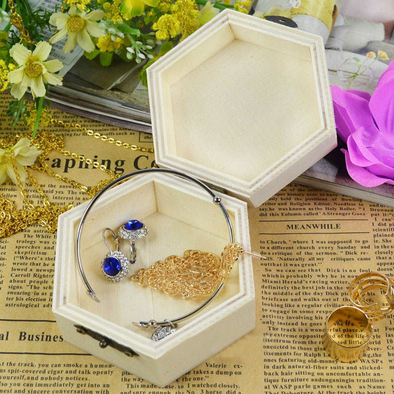 Hexagon/Rectangle Shaped Jewelry Case Vintage 1Pcs Postcard Organizer Wooden Box Handmade Craft Home Storage Boxes Multifunction