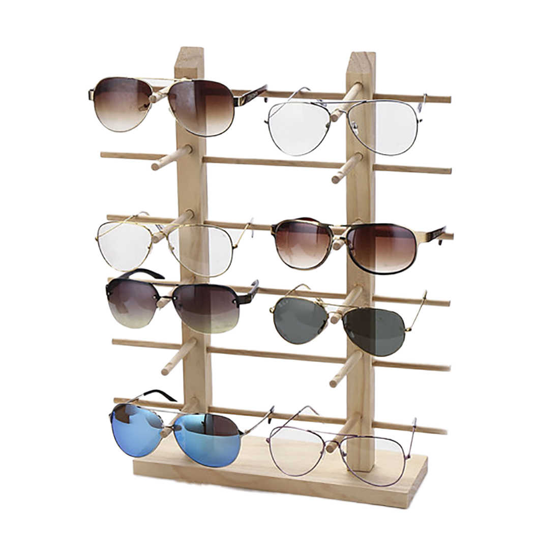 многослойная деревянная стойка витрина для солнечных очков
