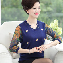 купить Plus Size 2019 Spring Autumn Elegant V-neck 3/4 Sleeve Sweater Female Floral Print Knitted Sweater And Pullover Pull Femme по цене 1608.09 рублей