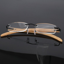Coyee Frameless Glasses For Reading Magnifier Computer Reader Men Women Wood Frames Transparent +1.0+1.5+2.0+2.5+3.0+3.5