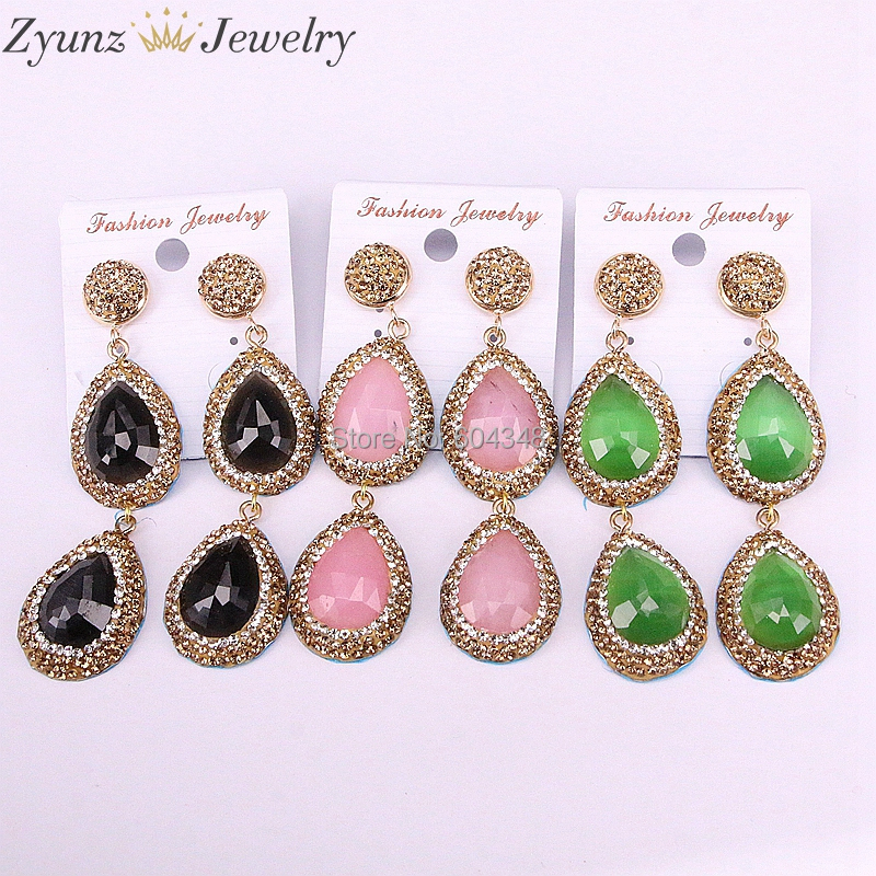 3Pairs ZYZ335-6581 Mix color cat eye stone dangle tassels earrings pave crystal rhinestone gems stone jewelry