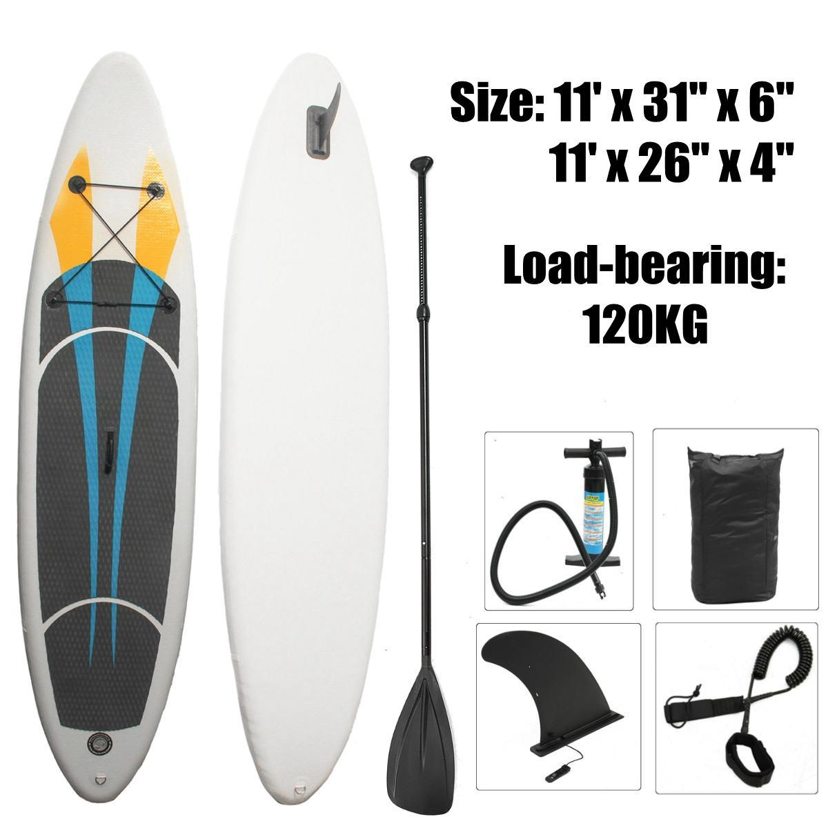 3 M X 0.65 M X 0.1 M/3.3 M X 0.76 M X 0.15 M 10FT SUP planche de surf gonflable Kits planche de surf souple Stand Up Paddle Board avec 3 aileron