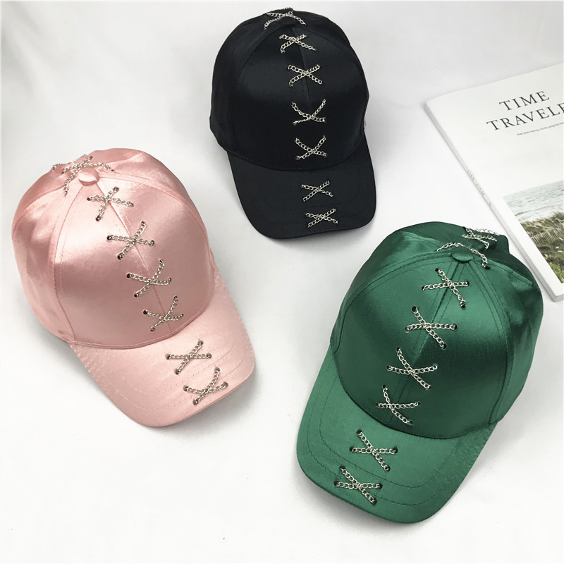 Personality Fashion Chain Silk Satin Face   Baseball     Cap   Woman Summer All-match. Sun Hat Blackish Green Peaked   Cap