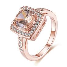 Rose Gold Inlaid Topaz Zircon Diamond Ring Anillo De Bague Etoile Bizuteria for Women Diamante Gemstone Engagement NoEnName