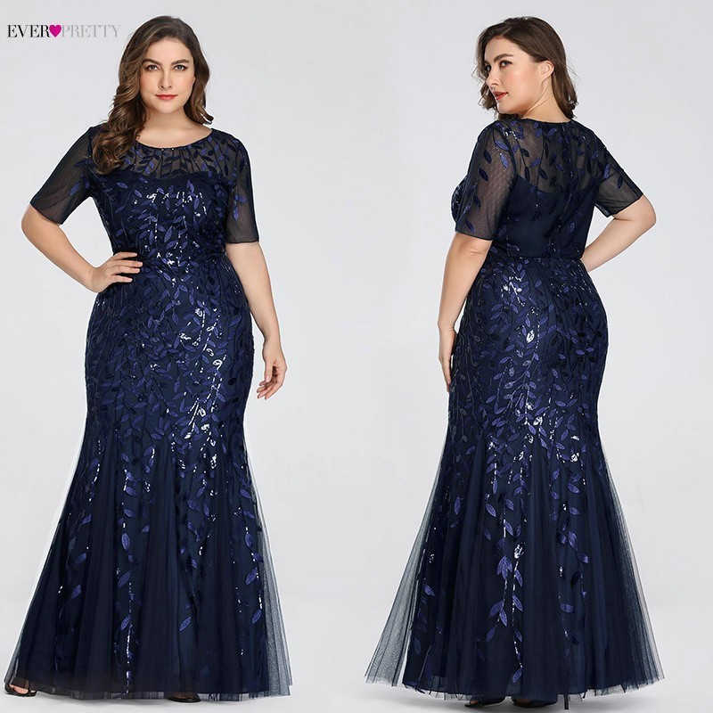 Plus Size Sequined Evening Dresses Long Ever Pretty O-Neck Half Sleeve Mermaid Abiye Sexy Elegant Party Dresses Robe De Soiree