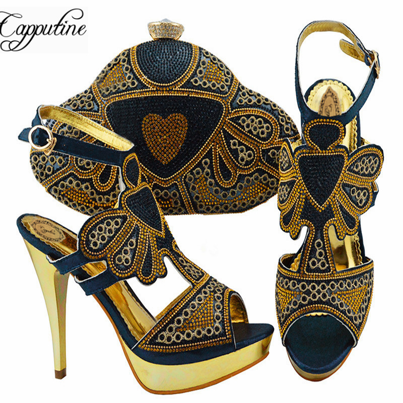 Capputine Nigerian Style Woman Shoes And Matching Bag Set Italian Rhinestone High Heels Shoes With Bag For Party Size 38-42Capputine Nigerian Style Woman Shoes And Matching Bag Set Italian Rhinestone High Heels Shoes With Bag For Party Size 38-42