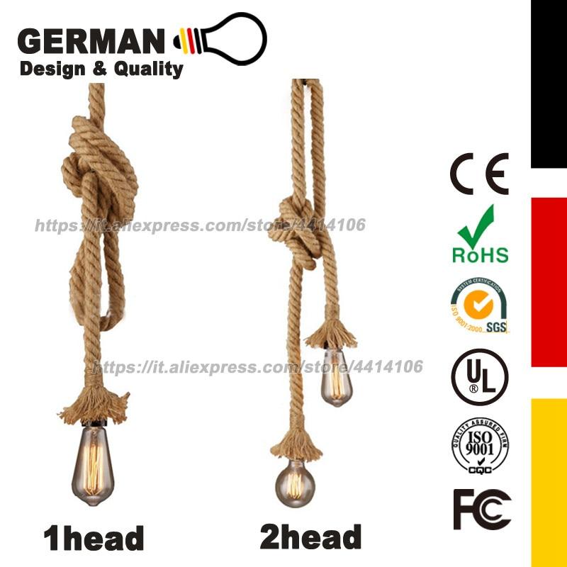Vintage Hemp Rope Pendant Light Head Thick Industrial for Restaurant Coffee