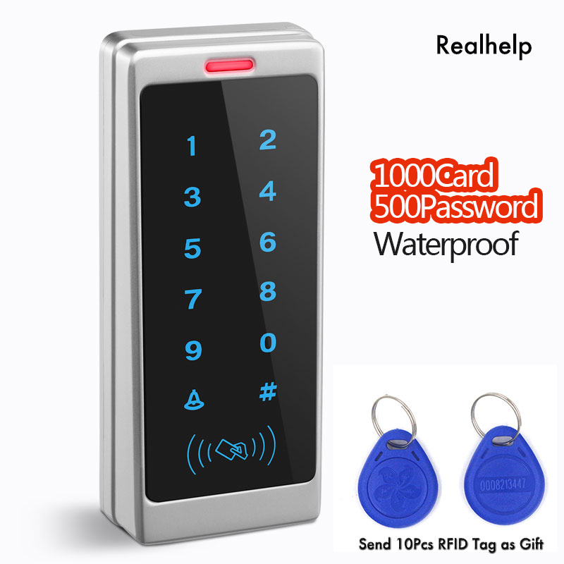 Support 1000Card and 500Password Touch Keypad Entry System Office Access Waterproof Access control Wiegand RFID Card Reader access control all in one machine reader entry door keypad lock access control system for office family