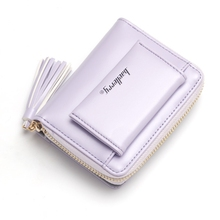 Pu Leather Ladies Short Wallet Tassel Zipper Buckle Two Fold Cute Small Purse Vertical Section