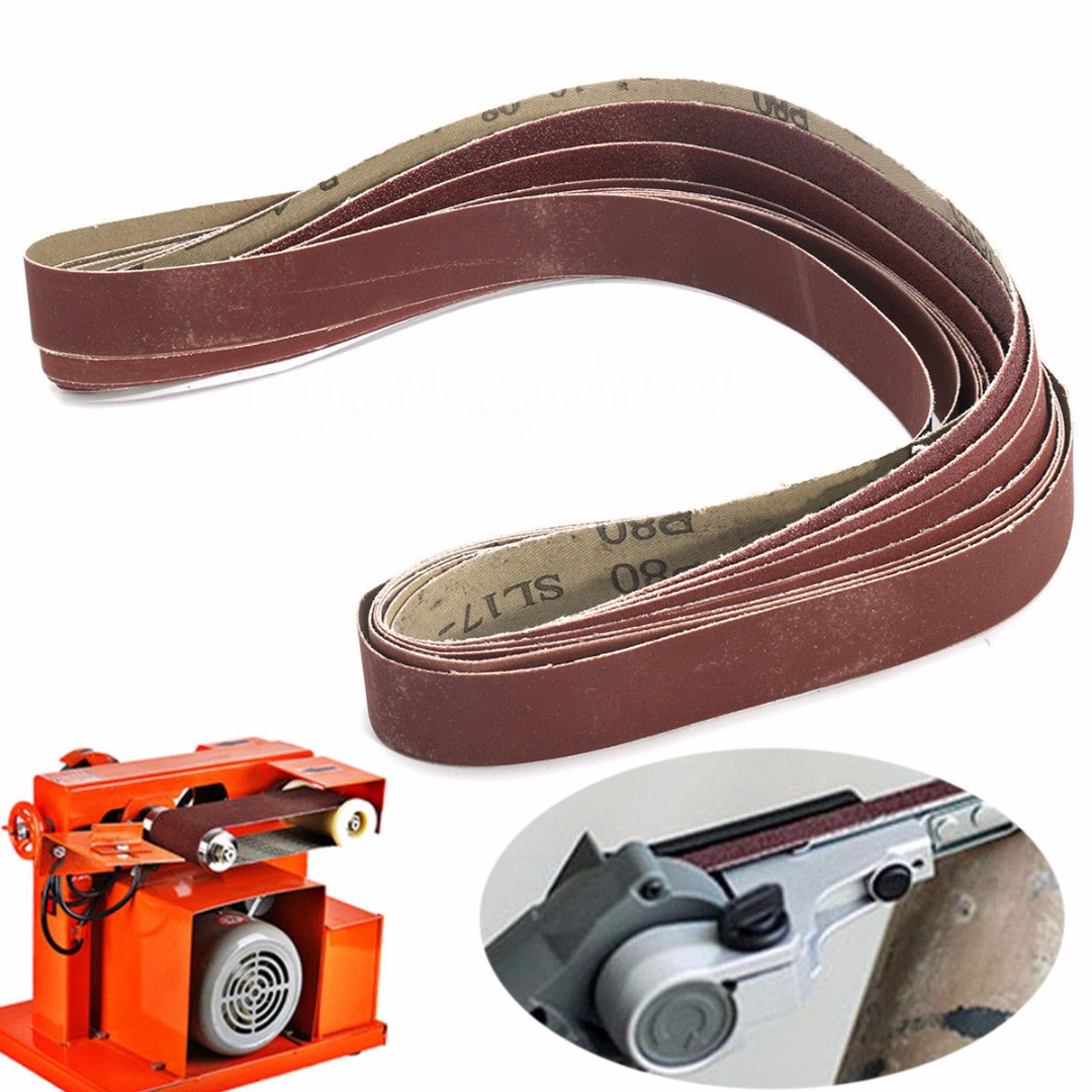 DWZ 7pcs New 2.5*106cm Sanding Belts 80 150 240 320 400 600 1000 Grit Sander File