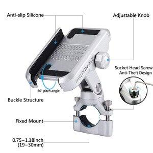 Image 1 - Универсальный держатель для мотоцикла, велосипеда, скутера, квадроцикла 19 30 мм на руль зеркала заднего вида с USB зарядкой