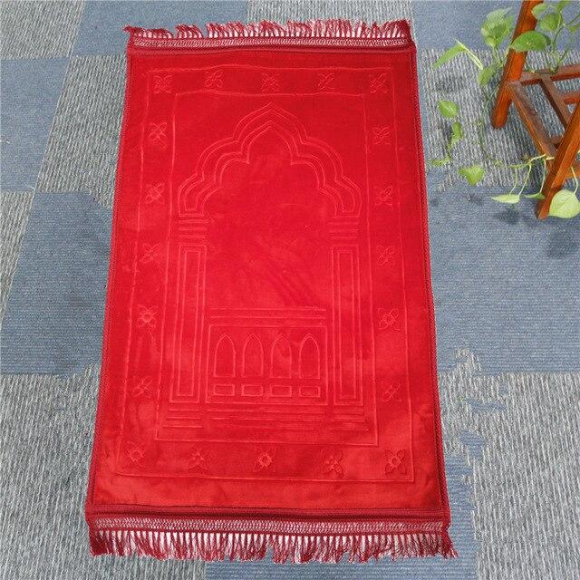 Mode Weich und Bequem Muslimischen Gebet Decke 12mm Dicke Gebet Matte 70x110cm Anti Slip Teppich für raschel Anbetung Teppiche