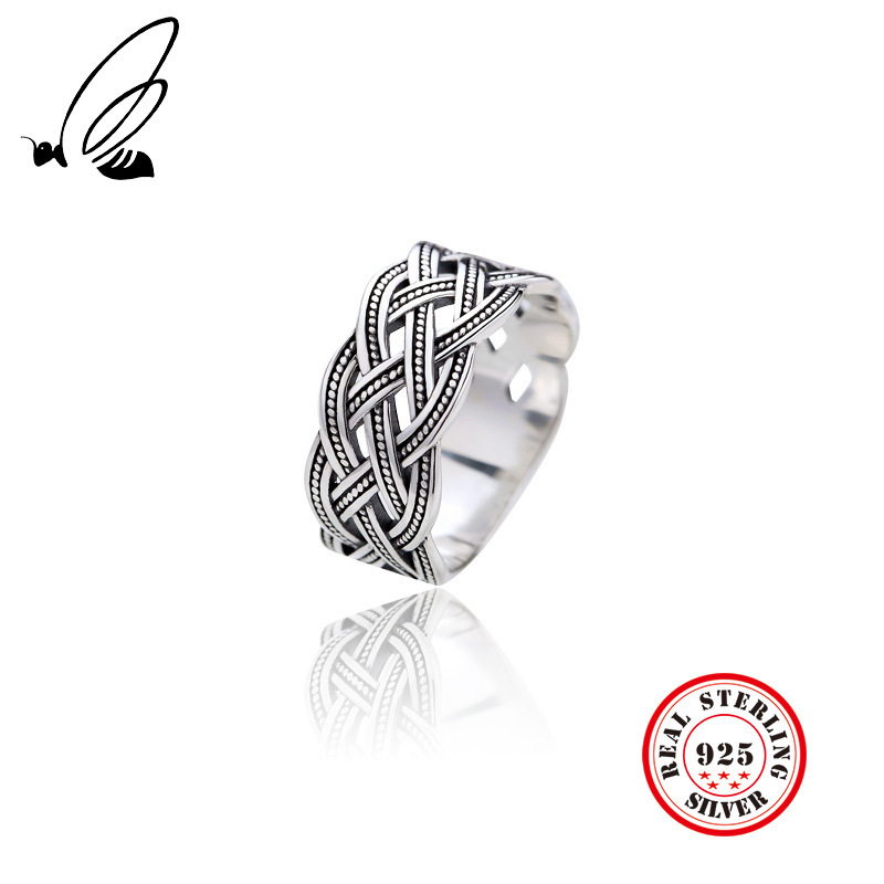 100 925 Silver Rings Thai Silver Simple Retro Vintage Twist Weave Rings Women Fine Jewelry 2019 Hot Style in Rings from Jewelry Accessories