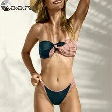 Купить с кэшбэком Bow Solid Knot Bathing Suit Women Biquini String Sexy Swimwear Push Up Swimsuit Summer Beach Wear Micro Bikini 2019 Bathers
