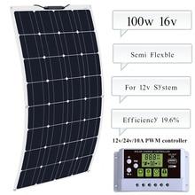 BOGUANG 100w semi-flexible solar panel + 10A Controller regulator for Caravan  Boat Yacht Car Home Roof 12v Battery painel solar