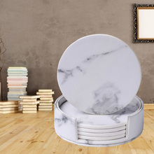 6 Pcs Coasters Marble PU Leather Round Heat Insulation Table Placemat Drink Coasters Cup Mats for Home Table Kitchen Decor