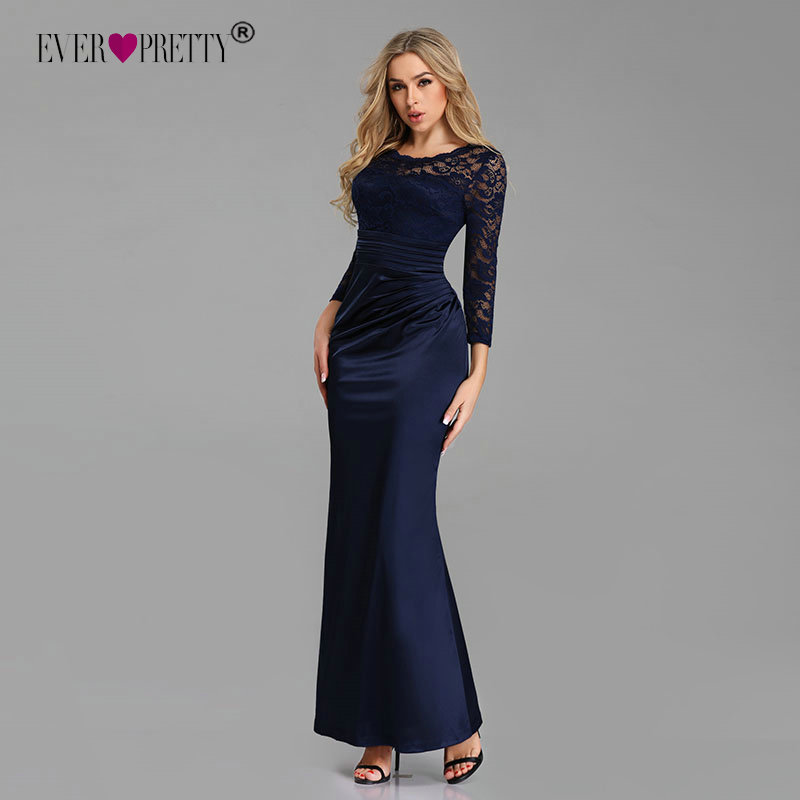 Evening Dresses Long Ever Pretty Long Sleeve Winter O-neck Lace Mermaid Sexy Special Occasion Party Gowns For Wedding Guest
