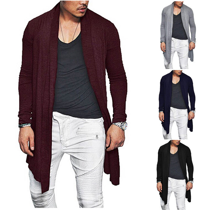 Autumn 2018 Stylish Men Knitted Cardigan Slim Fit Pleated Long Sleeve Casual Sweater Overcoat Tops M-XXXL