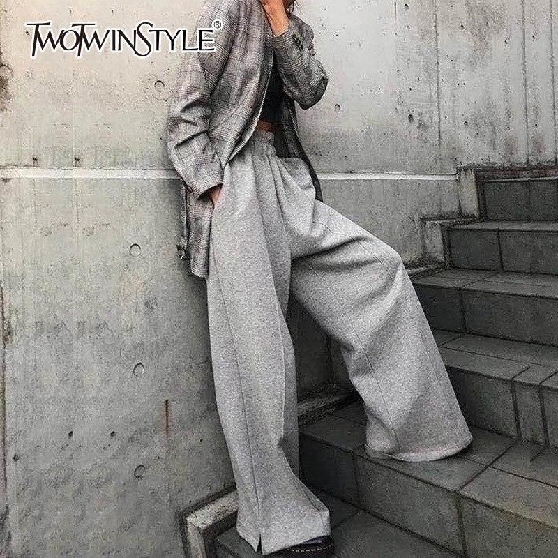 TWOTWINSTYLE 2019 wiosna szary szerokie spodnie nogi kobiece luźne wysokiej talii elastyczne spodnie dla kobiet dorywczo mody koreański ubrania w Spodnie i spodnie capri od Odzież damska na AliExpress - 11.11_Double 11Singles' Day 1
