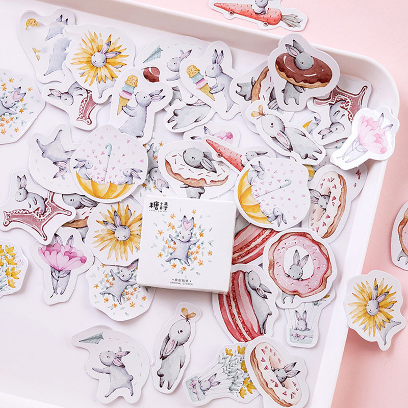 45Pcs/Box Cute Rabbit Stickers Kawaii Paper Adhesive Stickers For Kids Decorative Diary Scrapbooking Photo Ablums Classic Toys