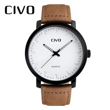 CIVO 2019 New Fashion Mens Watches Top Brand Waterproof Quartz Analog Clock Leather Wrist Relogio Masculino