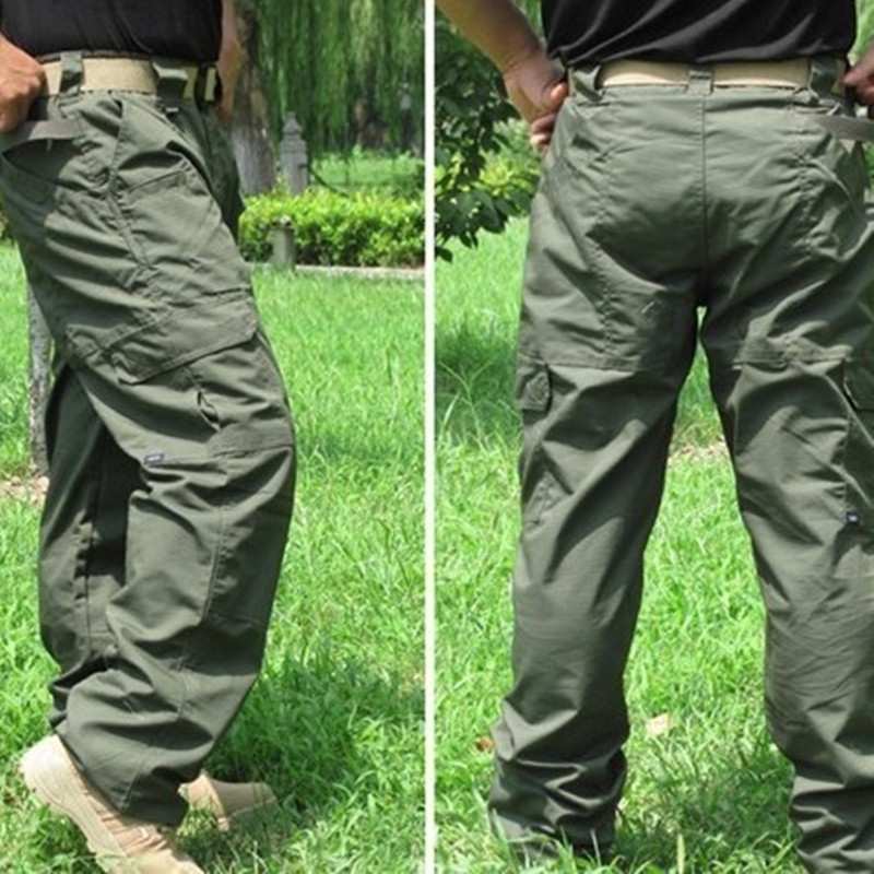 Tactical Training Camping Pants  Water Repellent Fabric  Outdoor Waterproof Mountaining Hiking Shoes Pocket Loose Straight Pants
